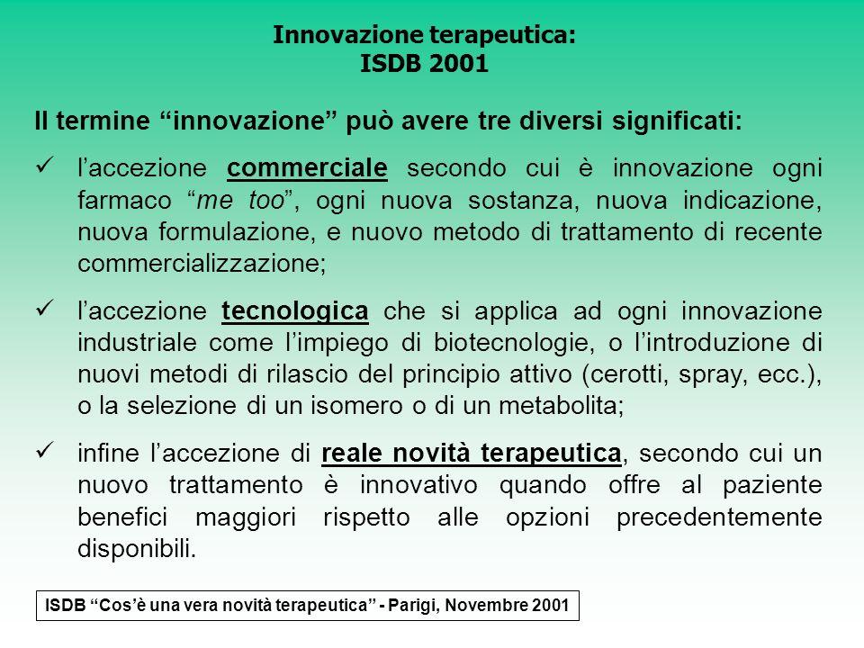 Il termine innovazione può avere tre diversi significati: laccezione commerciale secondo cui è innovazione ogni farmaco me too, ogni nuova sostanza, n