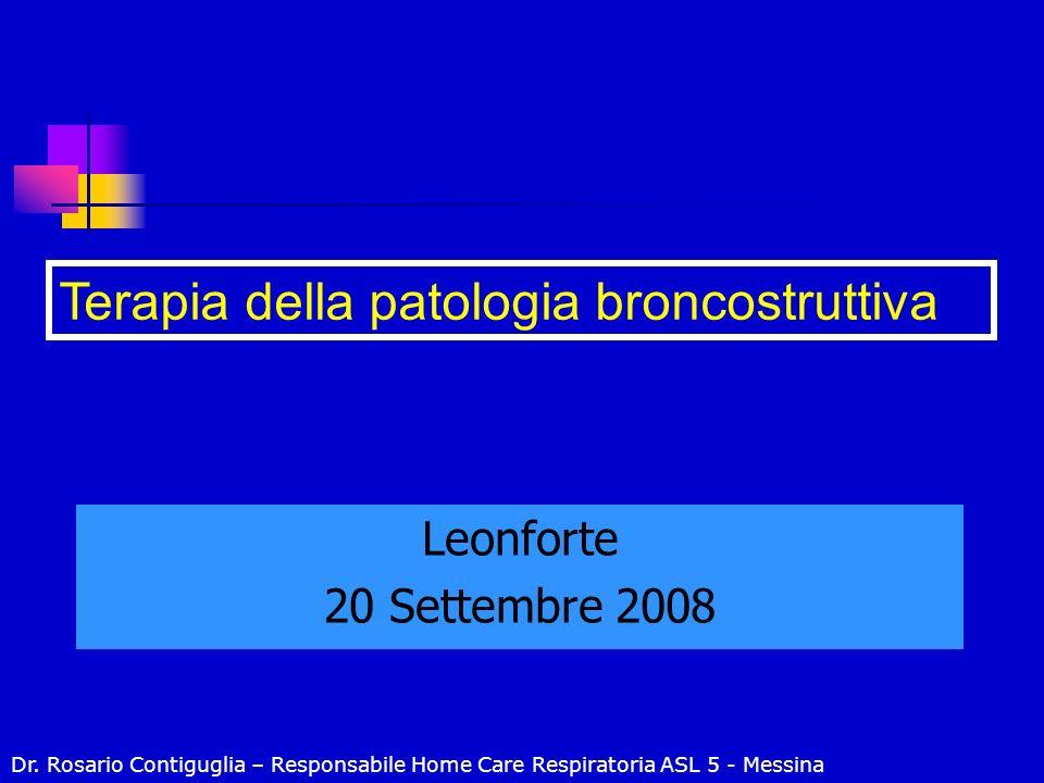 Leonforte 20 Settembre 2008 Terapia della patologia broncostruttiva Dr. Rosario Contiguglia – Responsabile Home Care Respiratoria ASL 5 - Messina