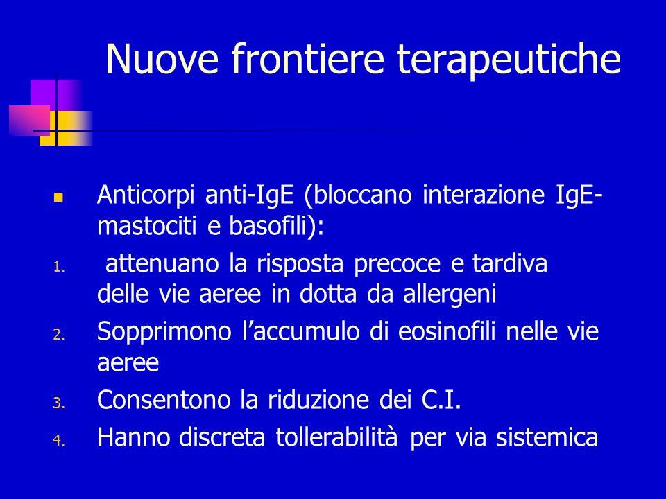 Nuove frontiere terapeutiche Anticorpi anti-IgE (bloccano interazione IgE- mastociti e basofili): 1. attenuano la risposta precoce e tardiva delle vie