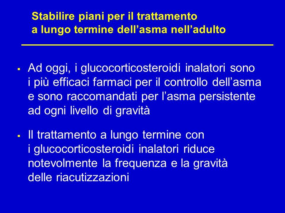Stabilire piani per il trattamento a lungo termine dellasma nelladulto Ad oggi, i glucocorticosteroidi inalatori sono i più efficaci farmaci per il co