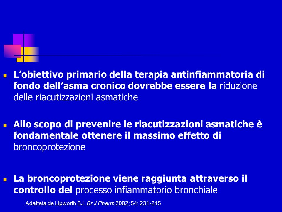 Lobiettivo primario della terapia antinfiammatoria di fondo dellasma cronico dovrebbe essere la riduzione delle riacutizzazioni asmatiche Allo scopo d