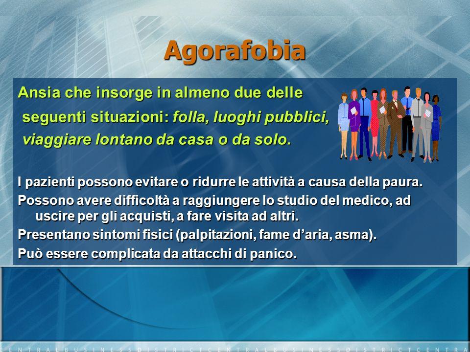 Agorafobia Ansia che insorge in almeno due delle seguenti situazioni: folla, luoghi pubblici, seguenti situazioni: folla, luoghi pubblici, viaggiare l