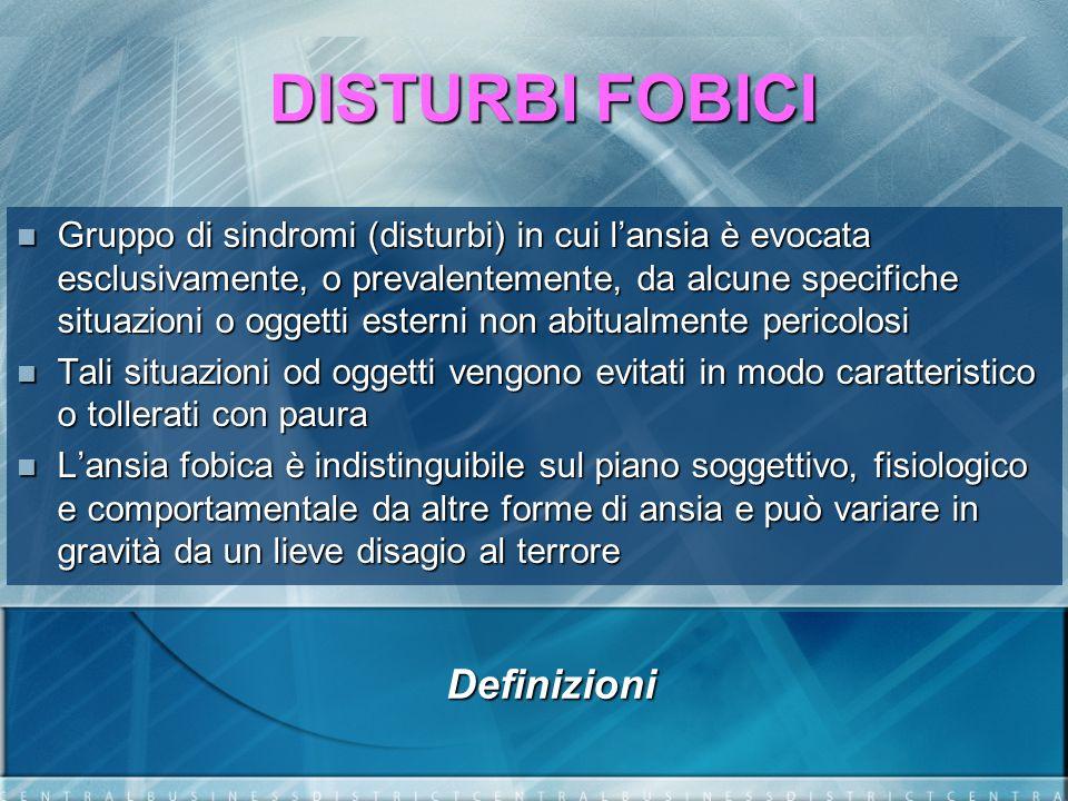 DISTURBI FOBICI E sufficiente che si consideri la possibilità di entrare nella situazione fobica per generare unansia anticipatoria E sufficiente che si consideri la possibilità di entrare nella situazione fobica per generare unansia anticipatoria Il criterio che loggetto è esterno, implica che molte paure di malattia (nosofobia) o di deturpazione (dismorfofobia) sono classificate in F45.2 (ipocondria) Il criterio che loggetto è esterno, implica che molte paure di malattia (nosofobia) o di deturpazione (dismorfofobia) sono classificate in F45.2 (ipocondria) La paura di esposizione a infezioni, procedure o luoghi medici, viene classificata come Fobia specifica La paura di esposizione a infezioni, procedure o luoghi medici, viene classificata come Fobia specifica Definizioni