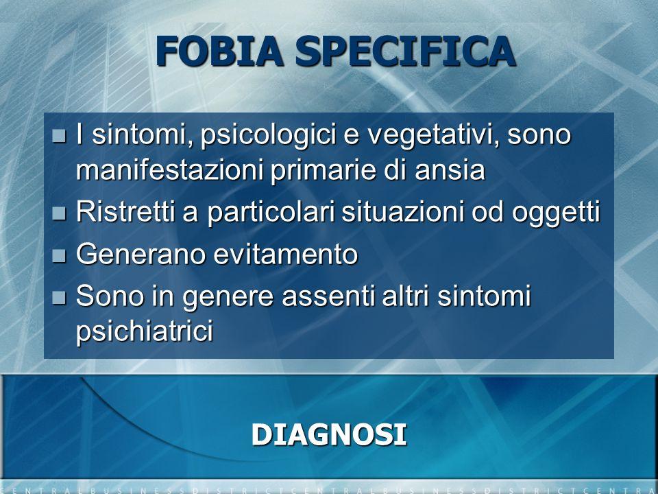 FOBIA SPECIFICA I sintomi, psicologici e vegetativi, sono manifestazioni primarie di ansia I sintomi, psicologici e vegetativi, sono manifestazioni pr