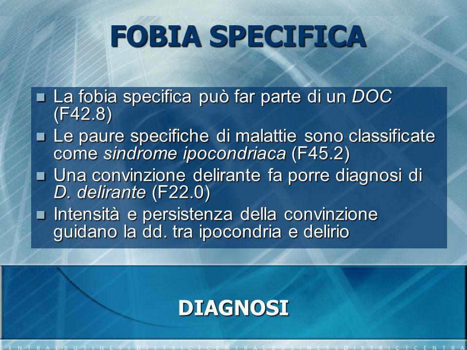 FOBIA SPECIFICA La fobia specifica può far parte di un DOC (F42.8) La fobia specifica può far parte di un DOC (F42.8) Le paure specifiche di malattie