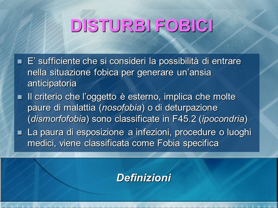 DISTURBI FOBICI Età di insorgenza Dati OMS Fobie 7-14 anni D.