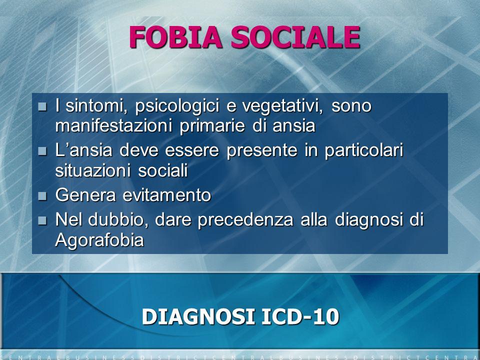 FOBIA SOCIALE I sintomi, psicologici e vegetativi, sono manifestazioni primarie di ansia I sintomi, psicologici e vegetativi, sono manifestazioni prim