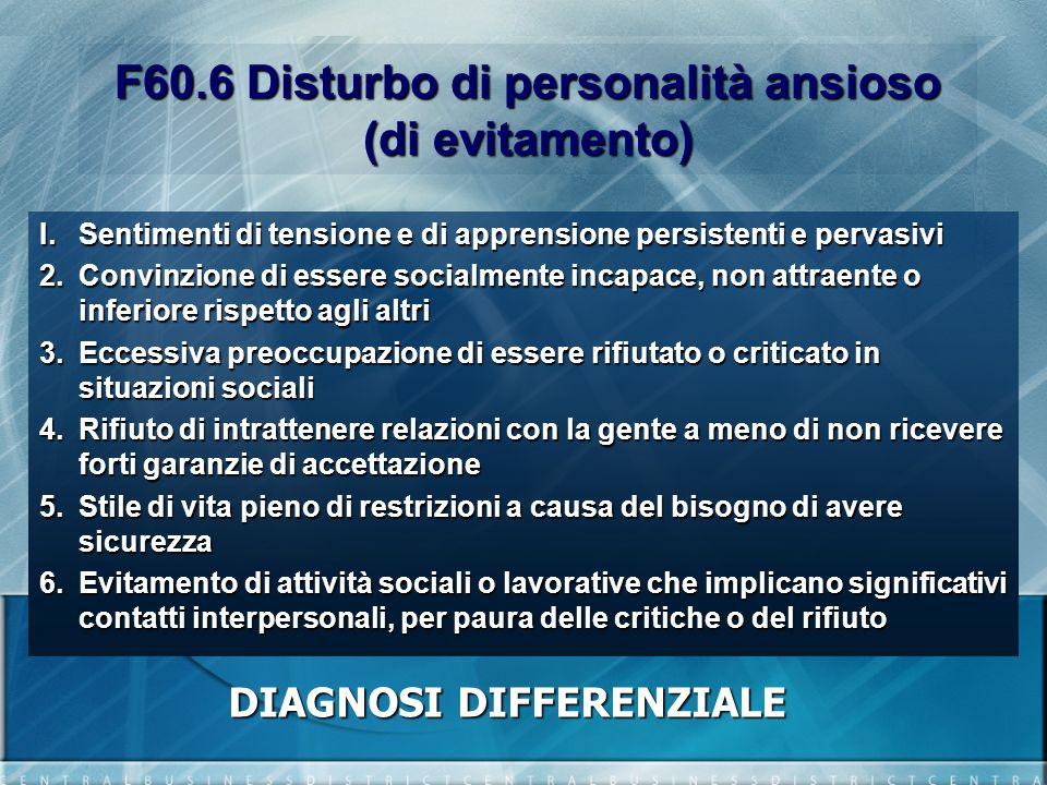F60.6 Disturbo di personalità ansioso (di evitamento) I.Sentimenti di tensione e di apprensione persistenti e pervasivi 2.Convinzione di essere social