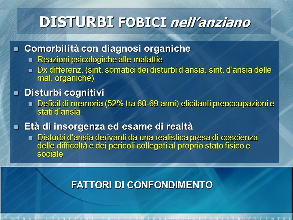 Comorbilità con diagnosi organiche Comorbilità con diagnosi organiche Reazioni psicologiche alle malattie Reazioni psicologiche alle malattie Dx diffe