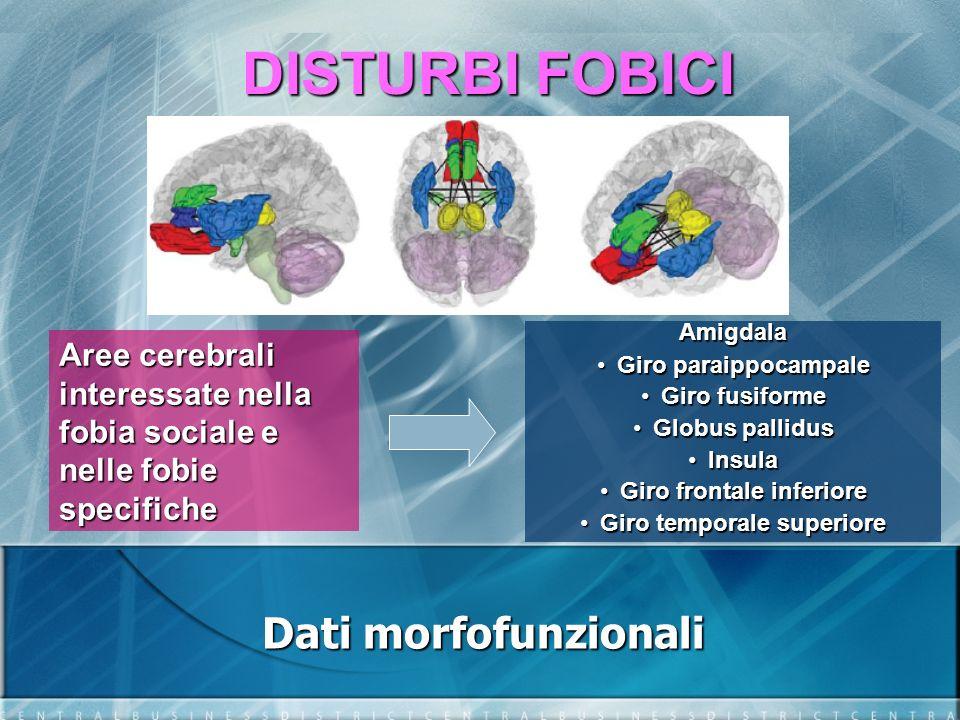 DISTURBI FOBICI Dati morfofunzionali Attività su amigdala e insula: soggetti sani soggetti sani PTSD PTSD Fobia sociale Fobia sociale Fobie specifiche Fobie specifiche Attività su corteccia dorsale, rostrale anteriore e prefrontale ventromediale: PTSD PTSD
