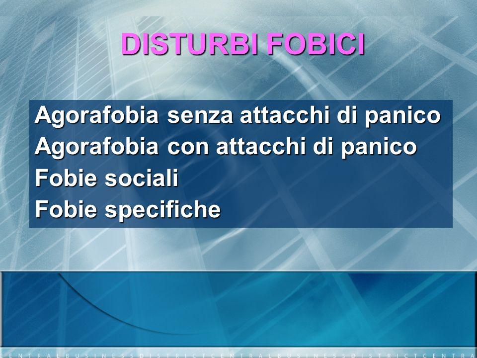 DISTURBI FOBICI Agorafobia senza attacchi di panico Agorafobia con attacchi di panico Fobie sociali Fobie specifiche