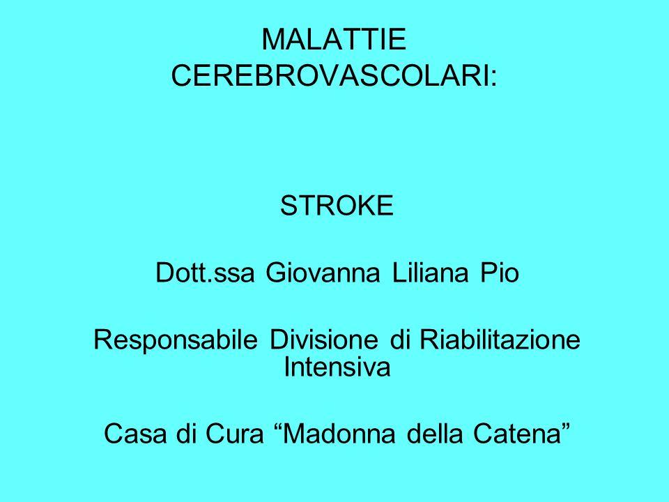 MALATTIE CEREBROVASCOLARI: STROKE Dott.ssa Giovanna Liliana Pio Responsabile Divisione di Riabilitazione Intensiva Casa di Cura Madonna della Catena