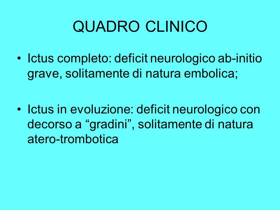 QUADRO CLINICO Ictus completo: deficit neurologico ab-initio grave, solitamente di natura embolica; Ictus in evoluzione: deficit neurologico con decor