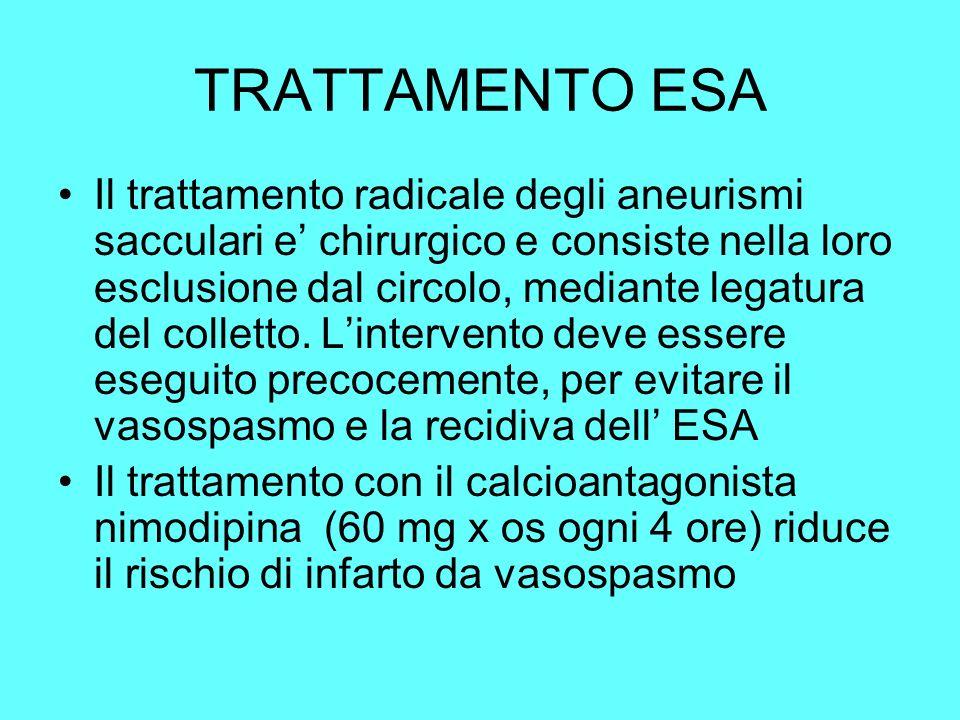 TRATTAMENTO ESA Il trattamento radicale degli aneurismi sacculari e chirurgico e consiste nella loro esclusione dal circolo, mediante legatura del col