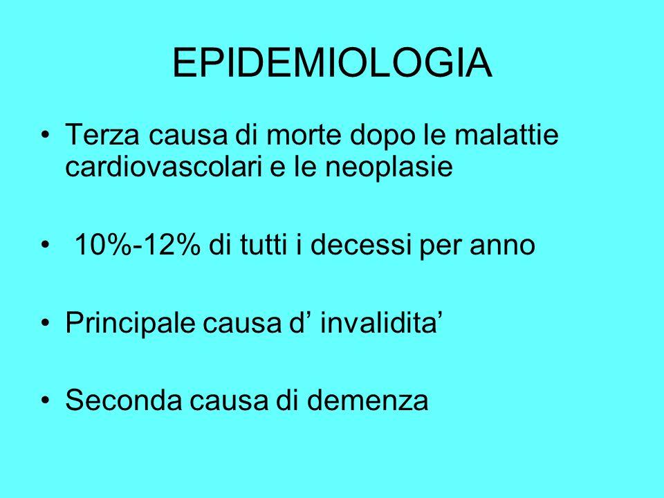 EPIDEMIOLOGIA Terza causa di morte dopo le malattie cardiovascolari e le neoplasie 10%-12% di tutti i decessi per anno Principale causa d invalidita S