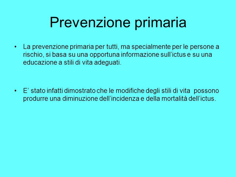 Prevenzione primaria La prevenzione primaria per tutti, ma specialmente per le persone a rischio, si basa su una opportuna informazione sullictus e su