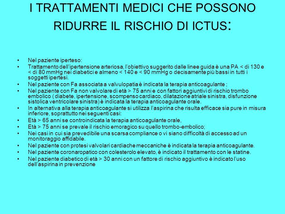 I TRATTAMENTI MEDICI CHE POSSONO RIDURRE IL RISCHIO DI ICTUS : Nel paziente iperteso: Trattamento dellipertensione arteriosa, lobiettivo suggerito dal