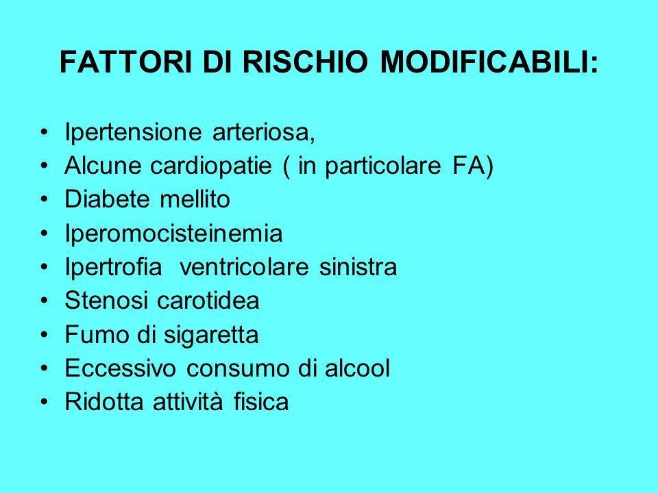 FATTORI DI RISCHIO MODIFICABILI: Ipertensione arteriosa, Alcune cardiopatie ( in particolare FA) Diabete mellito Iperomocisteinemia Ipertrofia ventric