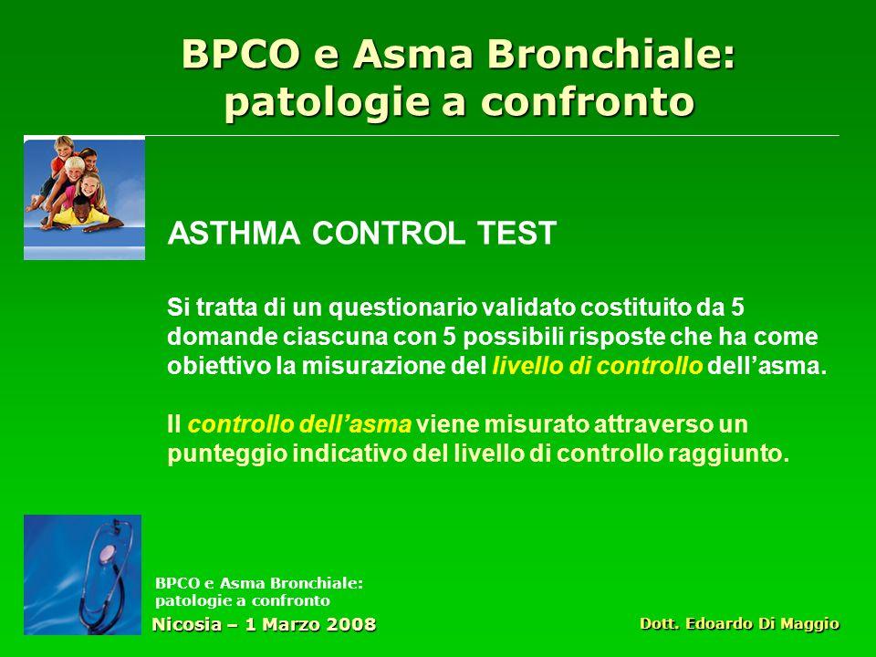 ASTHMA CONTROL TEST Si tratta di un questionario validato costituito da 5 domande ciascuna con 5 possibili risposte che ha come obiettivo la misurazione del livello di controllo dellasma.
