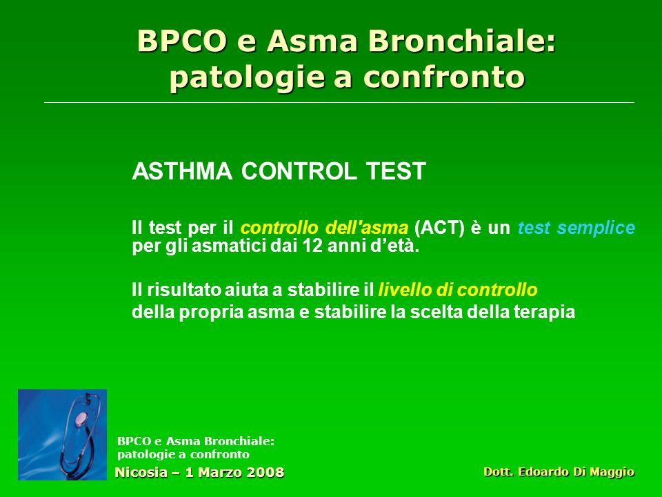 ASTHMA CONTROL TEST Il test per il controllo dell asma (ACT) è un test semplice per gli asmatici dai 12 anni detà.