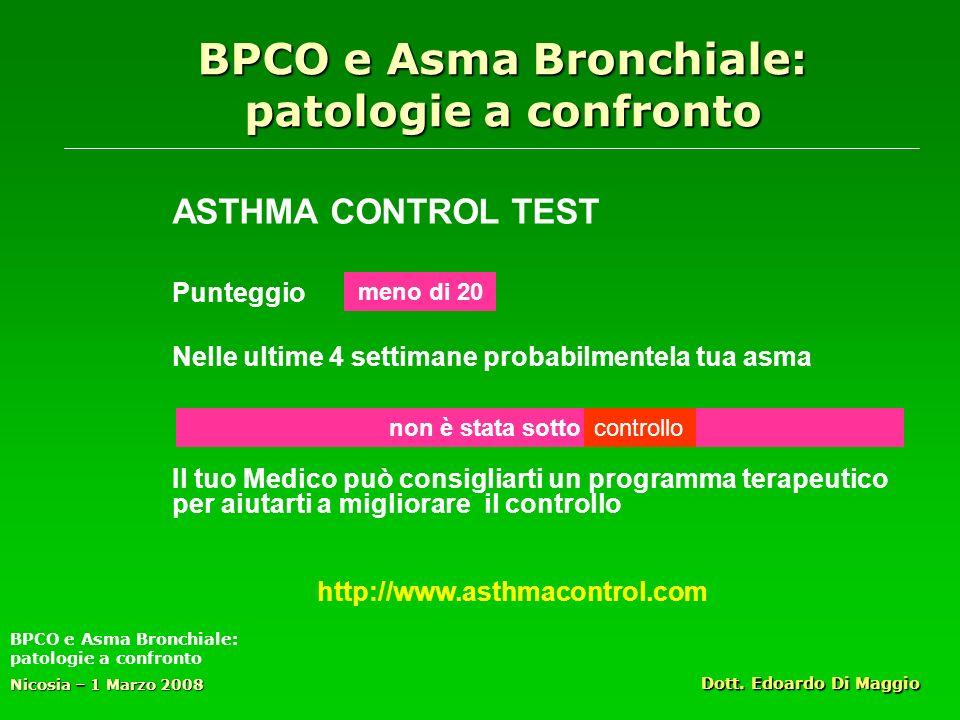 BPCO e Asma Bronchiale: patologie a confronto ASTHMA CONTROL TEST Punteggio Nelle ultime 4 settimane probabilmentela tua asma Il tuo Medico può consigliarti un programma terapeutico per aiutarti a migliorare il controllo Nicosia – 1 Marzo 2008 Dott.