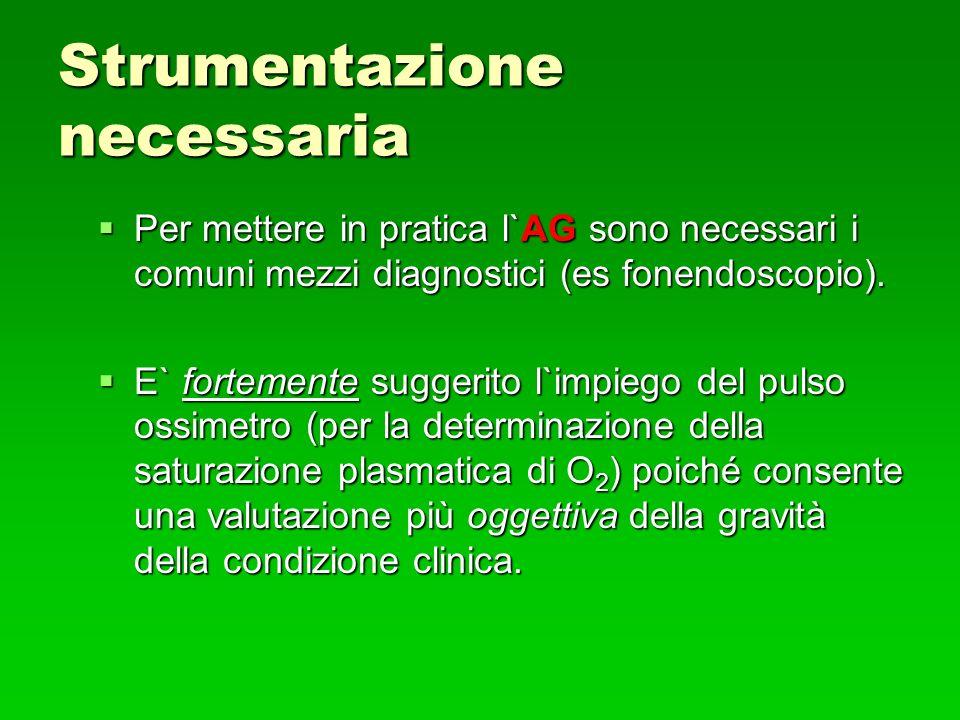 Strumentazione necessaria Per mettere in pratica l`AG sono necessari i comuni mezzi diagnostici (es fonendoscopio).
