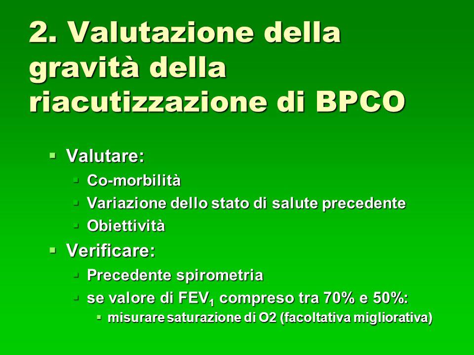 2. Valutazione della gravità della riacutizzazione di BPCO Valutare: Valutare: Co-morbilità Co-morbilità Variazione dello stato di salute precedente V
