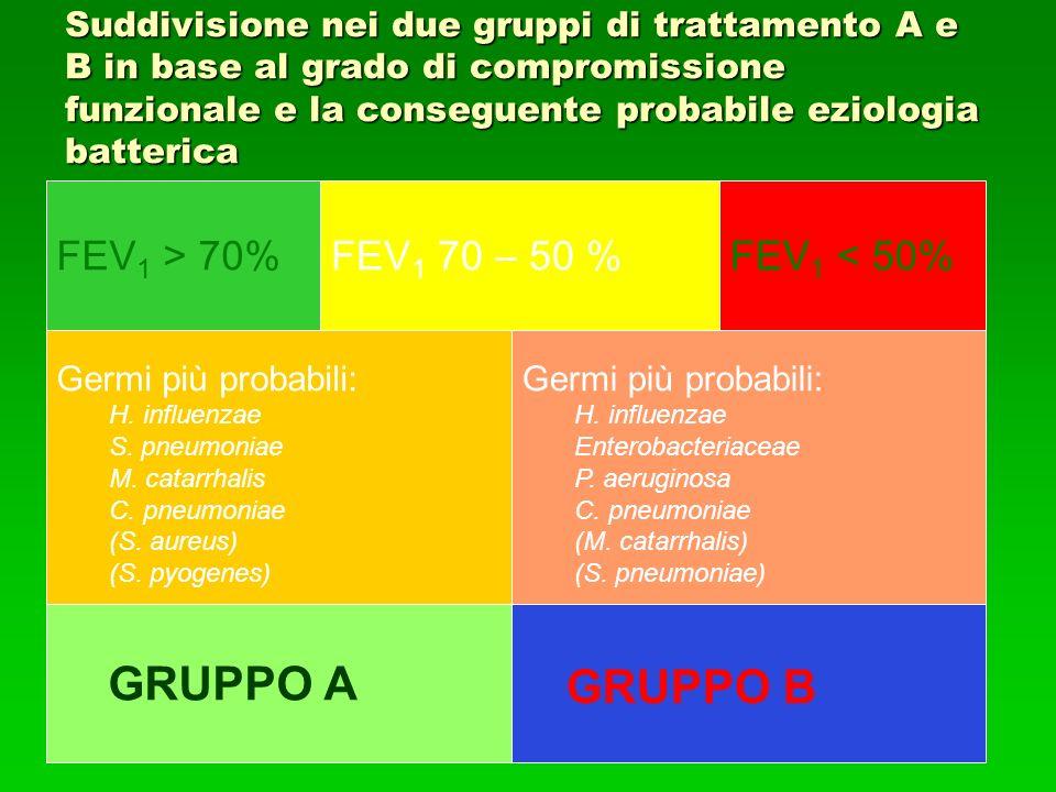 Suddivisione nei due gruppi di trattamento A e B in base al grado di compromissione funzionale e la conseguente probabile eziologia batterica FEV 1 > 70%FEV 1 70 – 50 %FEV 1 < 50% Germi più probabili: H.