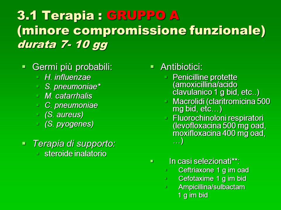 3.1 Terapia : GRUPPO A (minore compromissione funzionale) durata 7- 10 gg Germi più probabili: Germi più probabili: H.