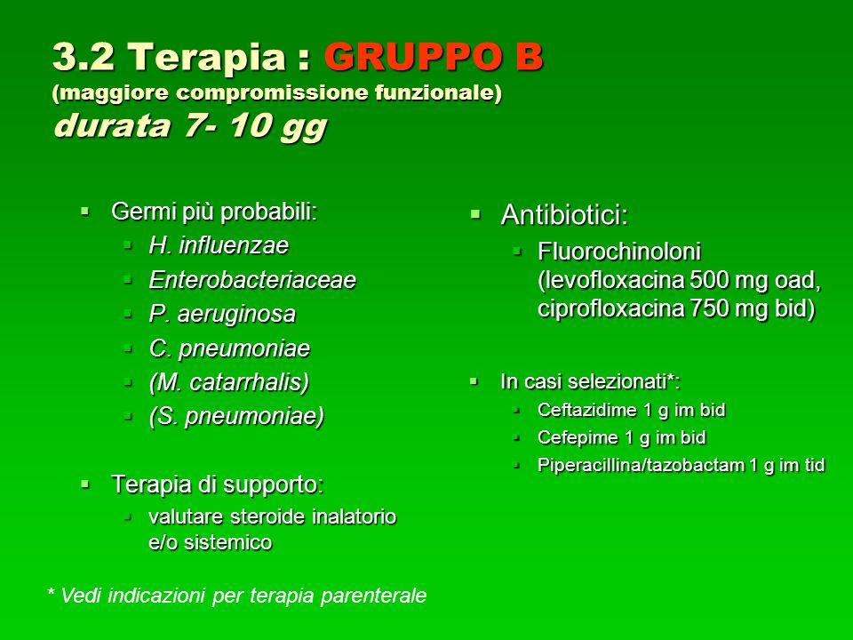 3.2 Terapia : GRUPPO B (maggiore compromissione funzionale) durata 7- 10 gg Germi più probabili: Germi più probabili: H.