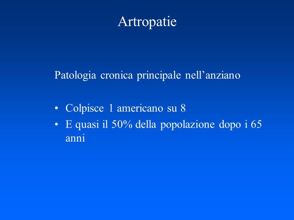 Artropatie Patologia cronica principale nellanziano Colpisce 1 americano su 8 E quasi il 50% della popolazione dopo i 65 anni