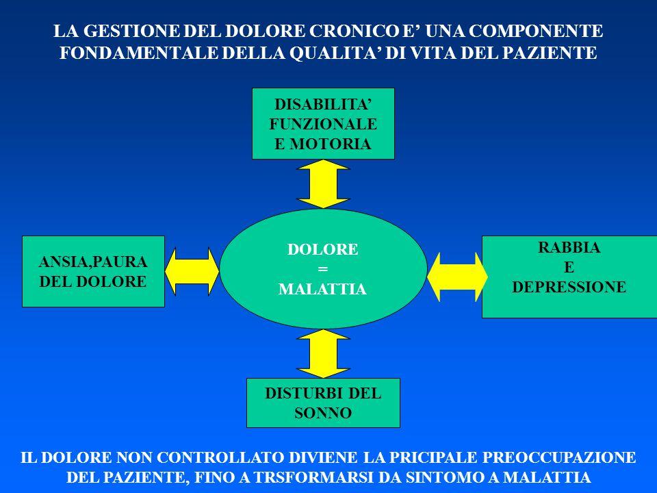 LA GESTIONE DEL DOLORE CRONICO E UNA COMPONENTE FONDAMENTALE DELLA QUALITA DI VITA DEL PAZIENTE DISABILITA FUNZIONALE E MOTORIA DOLORE = MALATTIA RABB