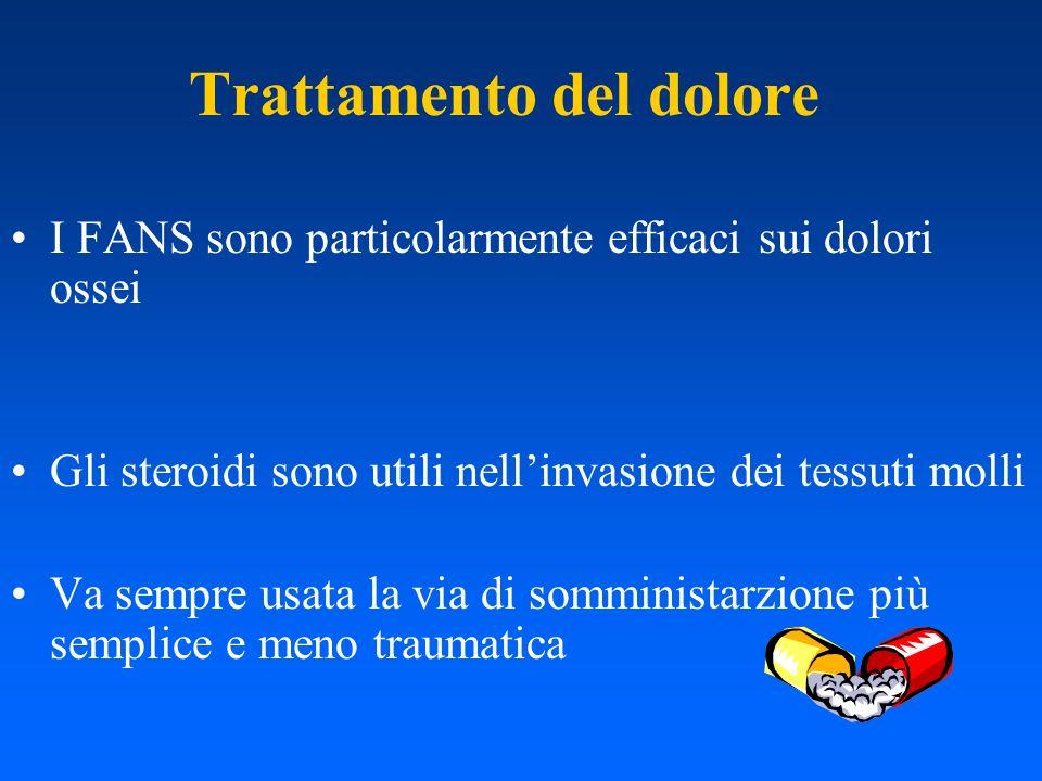 Trattamento del dolore I FANS sono particolarmente efficaci sui dolori ossei Gli steroidi sono utili nellinvasione dei tessuti molli Va sempre usata l