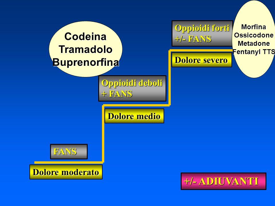 Dolore moderato FANS Dolore medio Oppioidi deboli + FANS Dolore severo Oppioidi forti +/- FANS +/- ADIUVANTI CodeinaTramadoloBuprenorfina MorfinaOssic