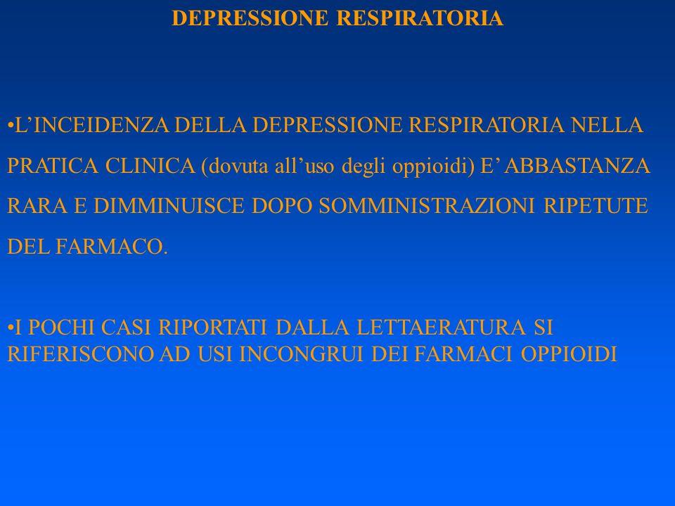 DEPRESSIONE RESPIRATORIA LINCEIDENZA DELLA DEPRESSIONE RESPIRATORIA NELLA PRATICA CLINICA (dovuta alluso degli oppioidi) E ABBASTANZA RARA E DIMMINUIS