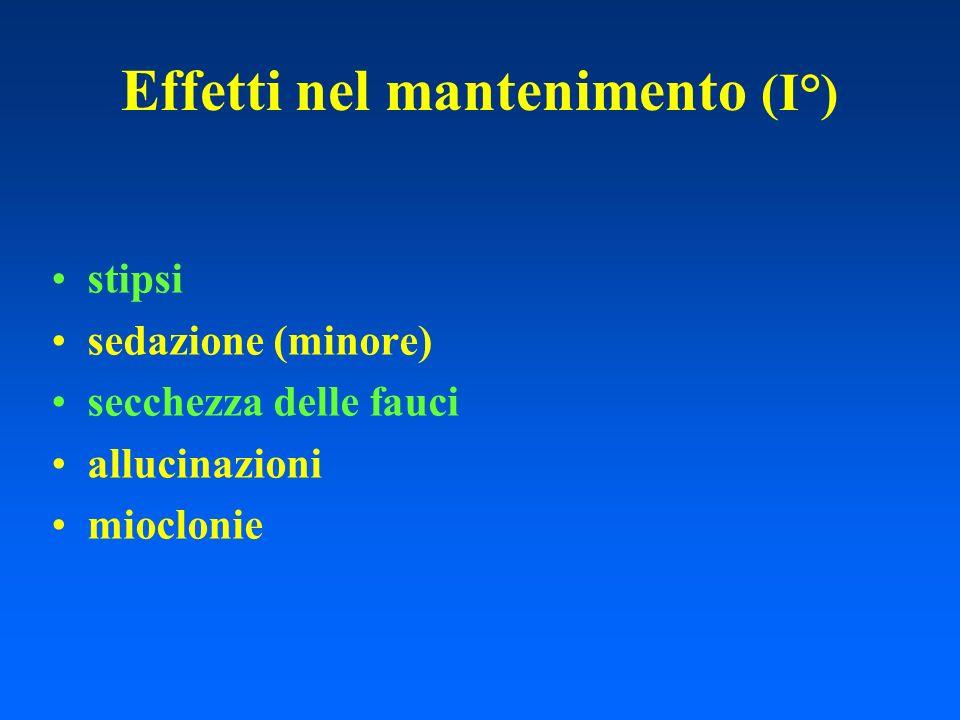 Effetti nel mantenimento (I°) stipsi sedazione (minore) secchezza delle fauci allucinazioni mioclonie
