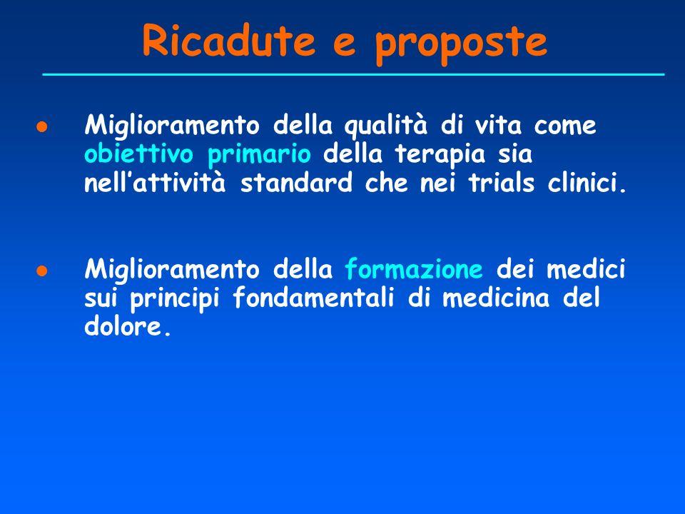 Ricadute e proposte l Miglioramento della qualità di vita come obiettivo primario della terapia sia nellattività standard che nei trials clinici. l Mi