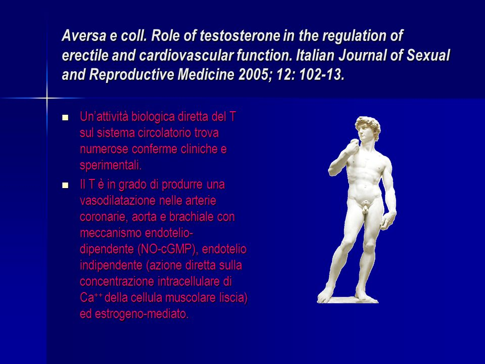 Aversa e coll. Role of testosterone in the regulation of erectile and cardiovascular function. Italian Journal of Sexual and Reproductive Medicine 200