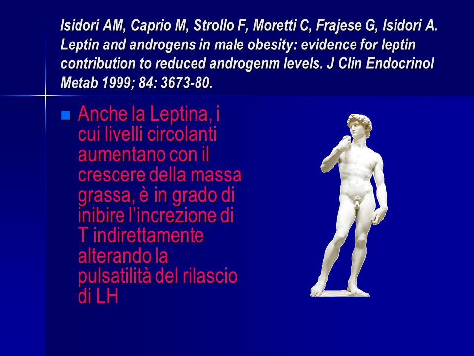 Isidori AM, Caprio M, Strollo F, Moretti C, Frajese G, Isidori A. Leptin and androgens in male obesity: evidence for leptin contribution to reduced an