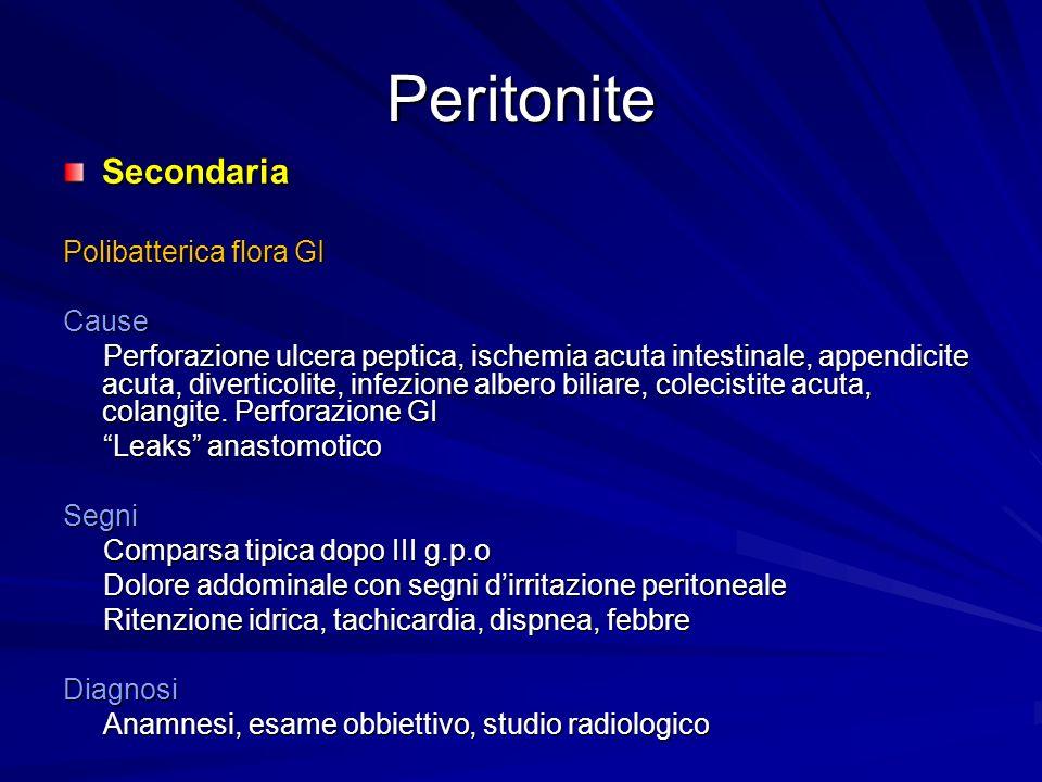 Peritonite Secondaria Polibatterica flora GI Cause Perforazione ulcera peptica, ischemia acuta intestinale, appendicite acuta, diverticolite, infezione albero biliare, colecistite acuta, colangite.
