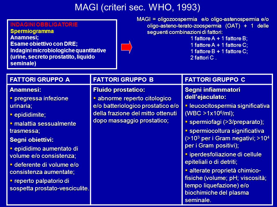 MAGI = oligozoospermia e/o oligo-astenospermia e/o oligo-asteno-terato-zoospermia (OAT) + 1 delle seguenti combinazioni di fattori: 1 fattore A + 1 fa
