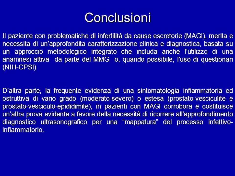 Conclusioni Il paziente con problematiche di infertilità da cause escretorie (MAGI), merita e necessita di unapprofondita caratterizzazione clinica e
