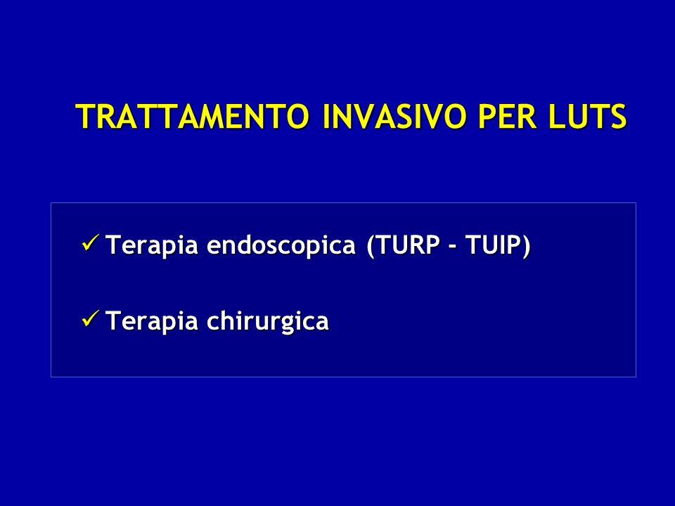 TRATTAMENTO INVASIVO PER LUTS Terapia endoscopica (TURP - TUIP) Terapia endoscopica (TURP - TUIP) Terapia chirurgica Terapia chirurgica