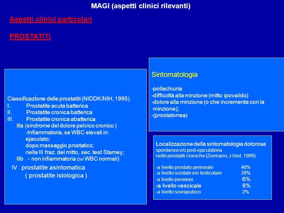 MAGI (aspetti clinici rilevanti) Aspetti clinici particolari PROSTATITI Classificaz i one delle prostatiti (NIDDK/NIH, 1995) I.Prostatite acuta batter