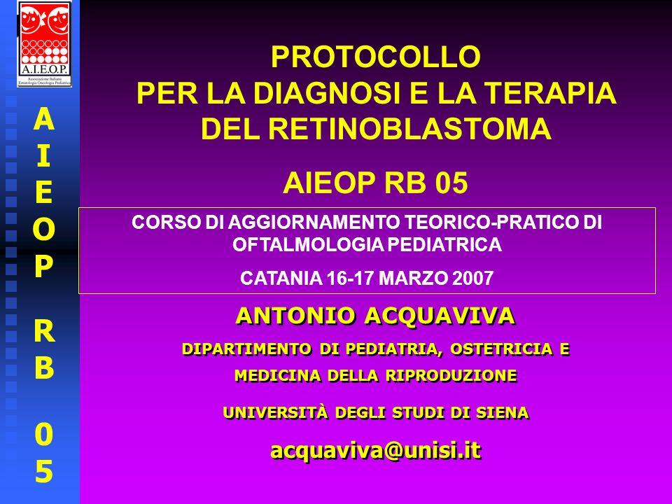 AIEOPRB05AIEOPRB05 PROTOCOLLO AIEOP RB 05 PER LA DIAGNOSI E LA TERAPIA DEL RETINOBLASTOMA PAZIENTE OCULISTA NEONATOLOGO - PEDIATRA DI FAMIGLIA PEDIATRA ONCOLOGO NEURORADIOLOGO PATOLOGO GENETISTA BIOLOGO MOLECOLARE EPIDEMIOLOGO RADIOTERAPISTA