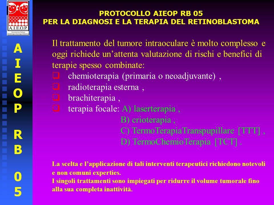 AIEOPRB05AIEOPRB05 PROTOCOLLO AIEOP RB 05 PER LA DIAGNOSI E LA TERAPIA DEL RETINOBLASTOMA Posta la diagnosi di retinoblastoma, la strategia terapeutica prevista è la seguente: Nelle forme intraoculari eleggibili per modalità terapeutiche focali si prevede trattamento conservativo consistente in terapia focale (fotocoagulazione, criocoagulazione, radioterapia stereotassica o brachiterapia con placche di rutenio) +/- chemioriduzione della neoplasia retinica.