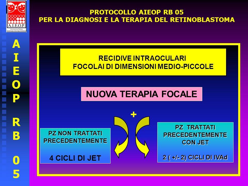 AIEOPRB05AIEOPRB05 PROTOCOLLO AIEOP RB 05 PER LA DIAGNOSI E LA TERAPIA DEL RETINOBLASTOMA RECIDIVE INTRAOCULARI FOCOLAI DI DIMENSIONI MEDIO-GRANDI A SECONDA DELLA SEDE: BRACHITERAPIA TCT + PZ NON TRATTATI PRECEDENTEMENTE 4 CICLI DI JET PZ TRATTATI PRECEDENTEMENTE CON JET 2 +/- 2 CICLI DI IVAd PER INTERESSAMENTO DELLA ZONA PAPILLO MACULARE : LA BRACHITERAPIA VA ESCLUSA