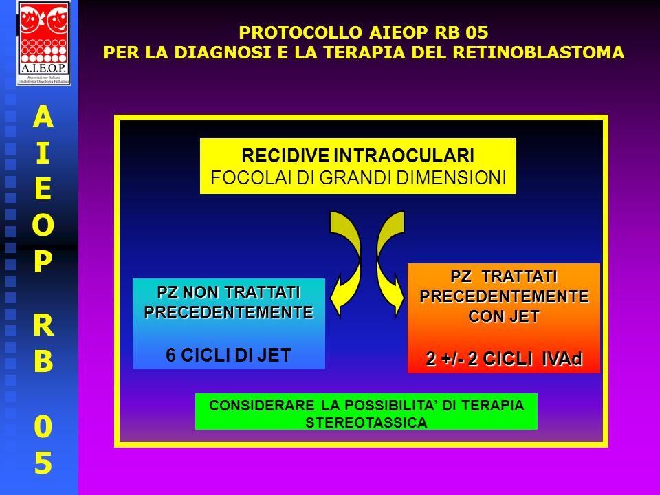AIEOPRB05AIEOPRB05 PROTOCOLLO AIEOP RB 05 PER LA DIAGNOSI E LA TERAPIA DEL RETINOBLASTOMA RECIDIVE INTRAOCULARI CON SEEDING VITREALE FOCOLAIO CON SEEDING VITREALE EPITUMORALE BRACHITERAPIA FOCOLAI CON SEEDING VITREALE DIFFUSO RADIOTERAPIA ESTERNA