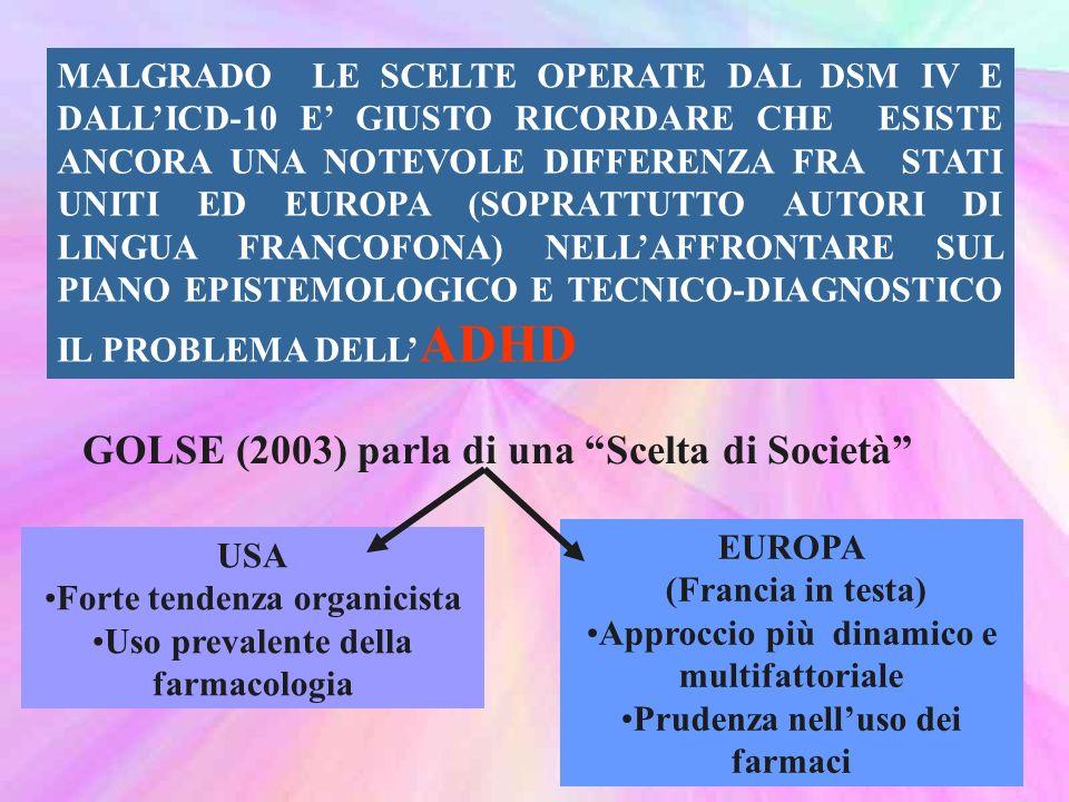MALGRADO LE SCELTE OPERATE DAL DSM IV E DALLICD-10 E GIUSTO RICORDARE CHE ESISTE ANCORA UNA NOTEVOLE DIFFERENZA FRA STATI UNITI ED EUROPA (SOPRATTUTTO AUTORI DI LINGUA FRANCOFONA) NELLAFFRONTARE SUL PIANO EPISTEMOLOGICO E TECNICO-DIAGNOSTICO IL PROBLEMA DELL ADHD GOLSE (2003) parla di una Scelta di Società USA Forte tendenza organicista Uso prevalente della farmacologia EUROPA (Francia in testa) Approccio più dinamico e multifattoriale Prudenza nelluso dei farmaci