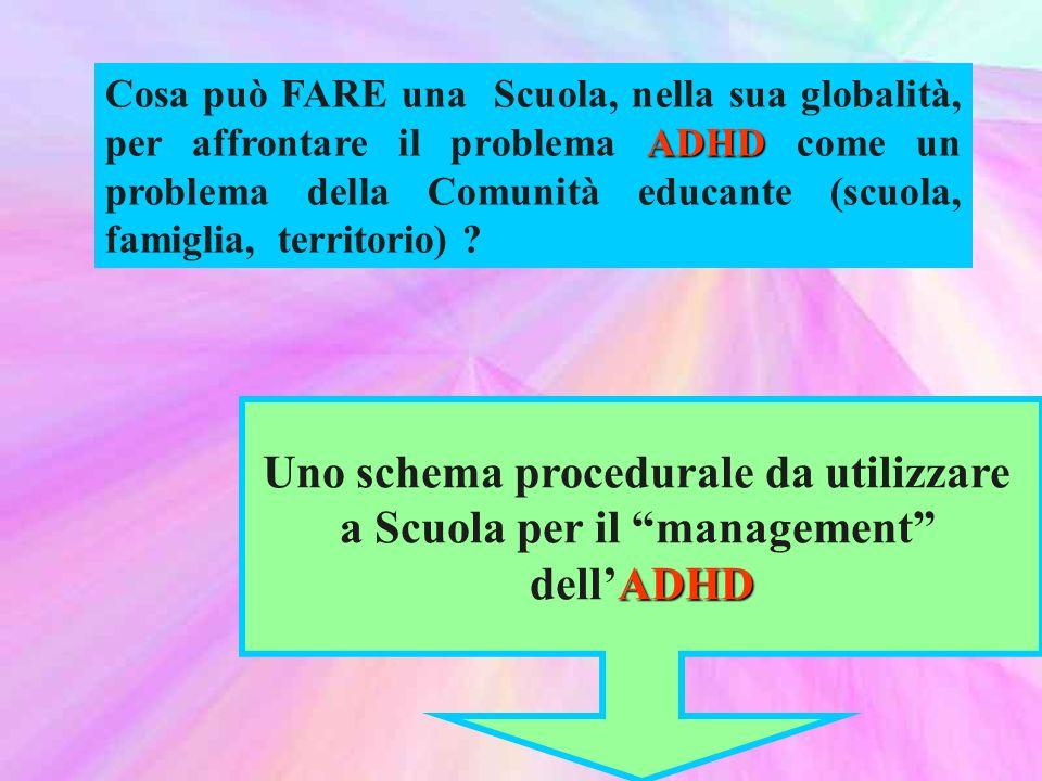 ADHD Cosa può FARE una Scuola, nella sua globalità, per affrontare il problema ADHD come un problema della Comunità educante (scuola, famiglia, territorio) .